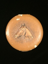 Vintage 1940s Tan Leather Horse Portrait Makeup Compact with Mirror
