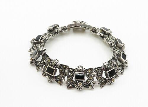 925 Sterling Silver - Vintage Black Onyx & Marcasite Chain Bracelet - B6135 image 2