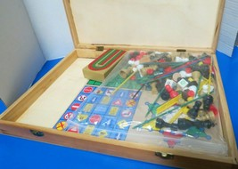 16 In One Game Set In Large Wood Box Checkers Chess Backgammon Cribbage ... - $34.00
