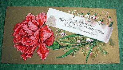 Antique Art Card Floral Victorian Trade Card Fine Boots Shoes E.H. Dunbar Lynn M