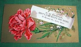 Antique Art Card Floral Victorian Trade Card Fine Boots Shoes E.H. Dunbar Lynn M image 1