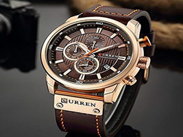 CURREN Men Leather Strap Military, Chronograph Waterproof Sport Watch - $55.95