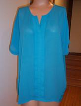 Dana Buchman Teal Blue Green Aqua Blouse Top Sz Med EUC - $29.21