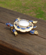 Vintage Crown Trifari© Turtle Brooch Pin, Red White and Blue Jelly Belly... - $265.00