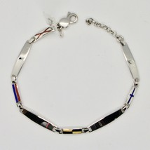 SOLID 925 RHODIUM SILVER BRACELET WITH GLAZED NAUTICAL FLAGS MADE IN ITALY image 2