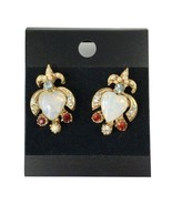 Vintage Simulated Opal Pearl Aquamarine Garnet and Rhinestone Earrings **Pierced - $13.98