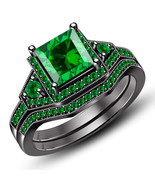 Christmas Offer 925 Sterling Solid Silver Womens Bridal Green Sapphire R... - $81.17