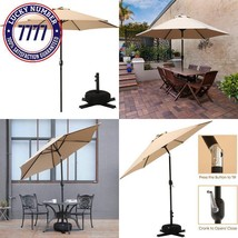 Superjare Outdoor Umbrella With Cross Base And Sandbag, 9 Ft Patio Marke... - $104.21