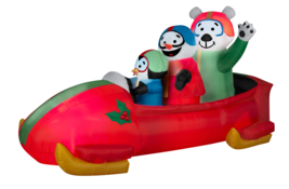 Inflatable Animated Bobsled Christmas Airblown Outdoor Yard Lawn Decorat... - $54.97