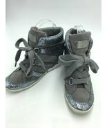 Coach Nesa Womens 8 Silver Glitter Gray Hidden Wedge Sneakers Shoes Ankl... - $49.99