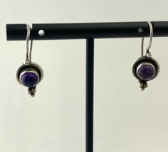 Vintage Sterling Silver and Polished Amethyst Stone Dangle Earrings - $23.75