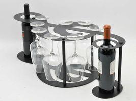 Music Symbol 2 Bottle Tabletop Wine Bottle And Glass Rack - $83.99
