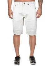 vkwear Men's Moto Biker Quilted Slim Fit Cotton Stretch Twill Shorts (36W, White