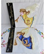 Christmas Angel 2 Sequin Appliques 1990s Crafts Clothing Holiday Hong Kong - $28.00