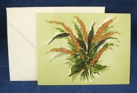 Vintage Greeting Note Card Notecard Leaves w Copper Mica Glitter w Envelope - $2.97