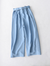 Light Blue Denim Crop PALAZZO PANTS TROUSERS Women Blue Loose Wide Leg Pants  image 2