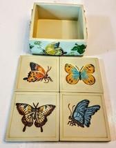 Butterfly Coasters + Napkin Holder LOT Beautiful 3D Garden Table Farmhou... - $27.72