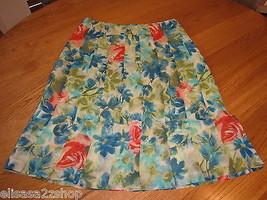 Womens women's Ann Taylor silk skirt 2 EUC pre-owned floral 127227 8056a - $17.96