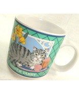 CAT LOVER Silver Tabby Coffee Mug GANZ Mugz Kitty Pet Yarn Flowers - £5.95 GBP