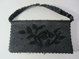 Vintage 1950's evening bag clutch heavily beaded black needs tlc - $7.25