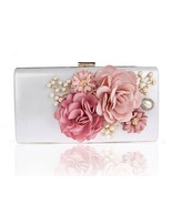 Colors handmade fabric flowers evening bag luxury wedding bride clutch bag pearl party thumbtall