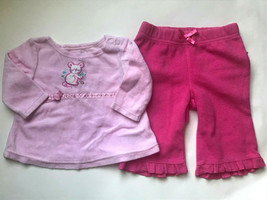 Girl's Size 3M 0-3 Months Two Piece Pink Mouse Velour L/S Top & Ruffled ... - $15.00