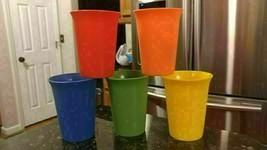 5 Vtg Tupperware #109 6oz Colorful Bell Tumblers Blue Green Orange Peach Yellow - $16.69