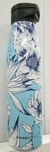 Starbucks Light Blue Rose Stainless Steel Reusable Water Bottle Magnetic Lid - $39.95