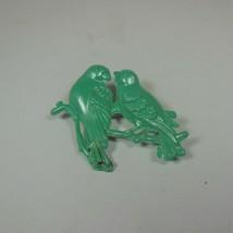 Vintage Plastic Green Love Birds Pin Brooch - $17.81