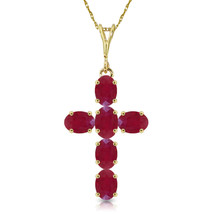 "1.5 CTW 14K Solid gold fine Cross Necklace 16-24"" genuine Ruby - $228.97+"