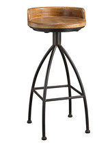Arteriors Hinkley Soho Bar Stool Mid Century Rustic Iron & Wood - Look 4... - $311.85