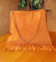 GAP Cow Split Suede Leather Orange Women's Shoulder Bag w Fringe Square ... - $24.99