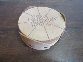 Vtg leather advertising drink coasters. The Peoples National Banl - $13.99