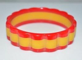 BAKELITE Tested True Red Yellow Scalloped Bangle Bracelet Vintage - $792.00