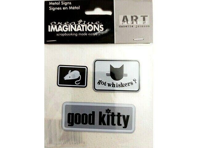 Art Warehouse Cat-Themed Metal Signs Sticker Set