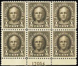 551, Mint NH 1/2¢ VF Plate Block of Six Stamps Cat $25.00 - Stuart Katz - $16.95