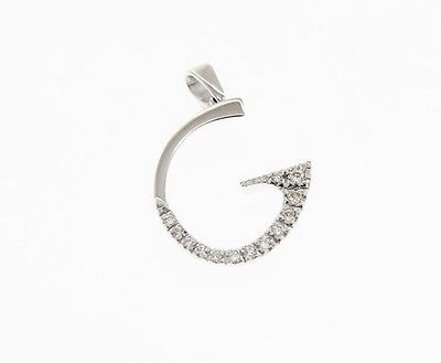 18K WHITE GOLD PENDANT CHARM INITIAL G LETTER G AND CUBIC ZIRCONIA MADE IN ITALY