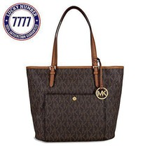 Michael Kors Mk Jet Set Signature Shoulder Bag, Brown , Large - $160.20