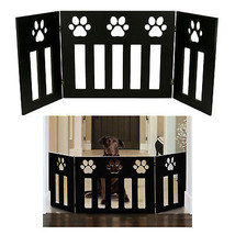 Pet Dog Gate Free Standing 48 in. Wide 19 in. Tall Three Panel Wooden Pa... - $58.98