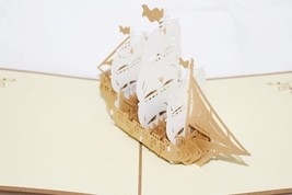White Ship 3D Pop Up Greeting Card Handmade Happy Birthday 87 - $6.99
