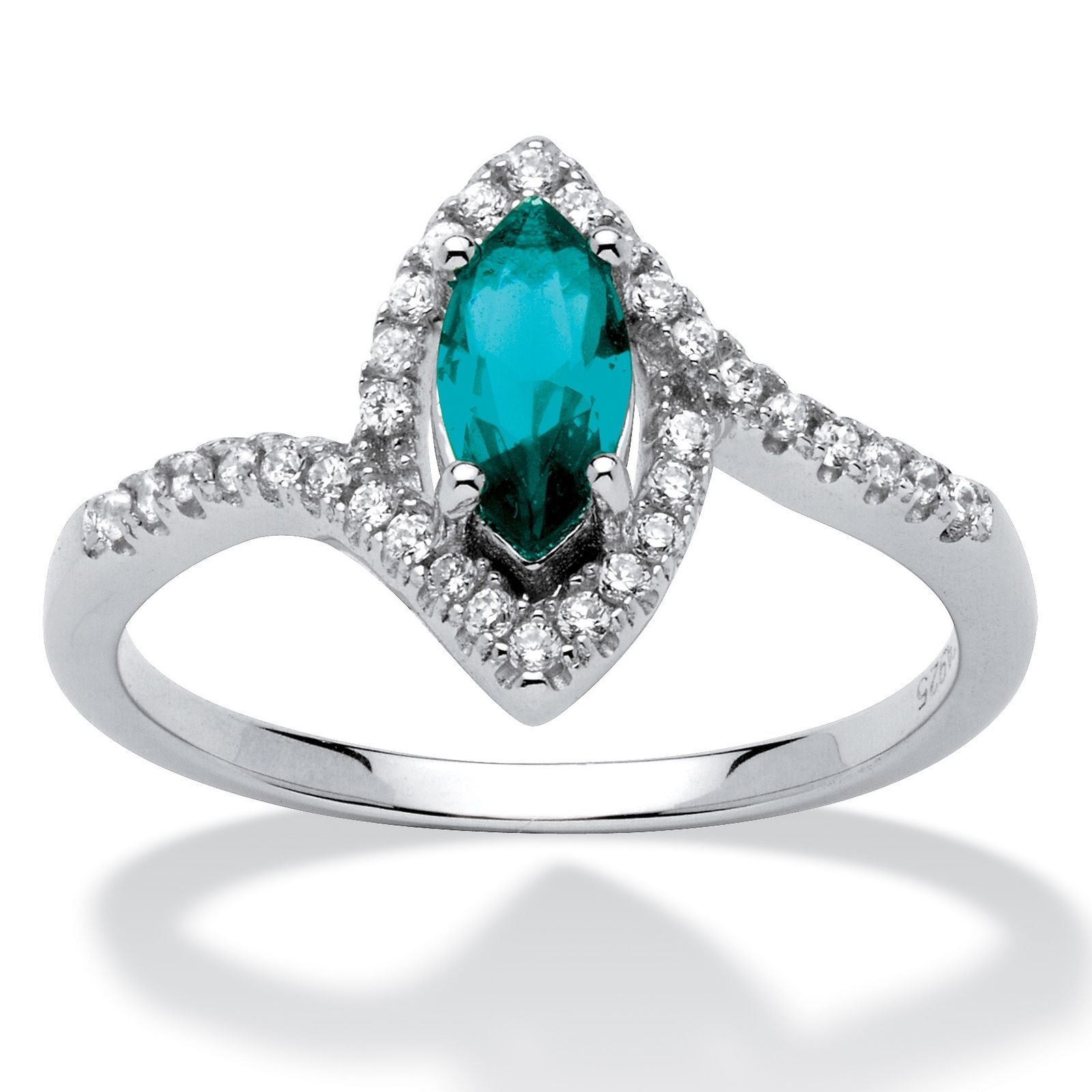 Primary image for Birthstone and CZ .925 Silver Halo Ring-December-Simulated Blue Topaz
