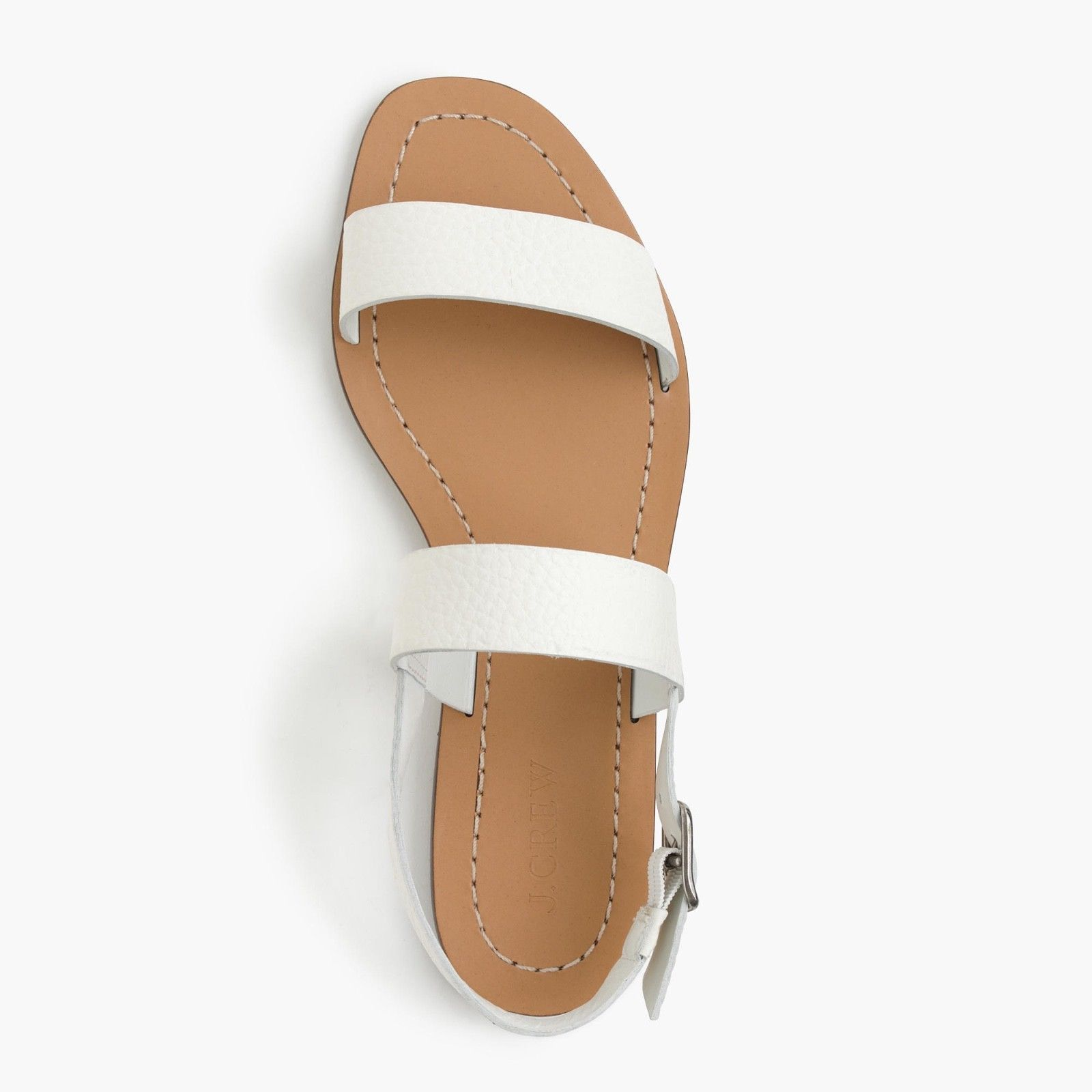 J. Crew Size 8 M Jules Tumbled Leather White Sandals Women's