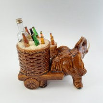 Brown Elephant with Cart of Drinks on Ice Rare image 5
