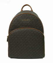 Michael Kors Abbey Large Backpack Brown MK Signature PVC Leather - $188.10