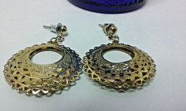 "Vintage Jewelry: 1"" Filigree Gold Tone Dangle Pierced Earrings 01-01-2019 - $8.99"