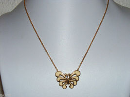 "Vintage gold plated cream color enamel butterfly pendant necklace 16"" ~B - $10.00"