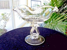 Viking Glass Works Princess Pattern Clear Compote c 1952 - 1980 - $19.80