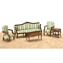Walnut Sheraton Living Room Dollhouse Miniature Set - $90.71