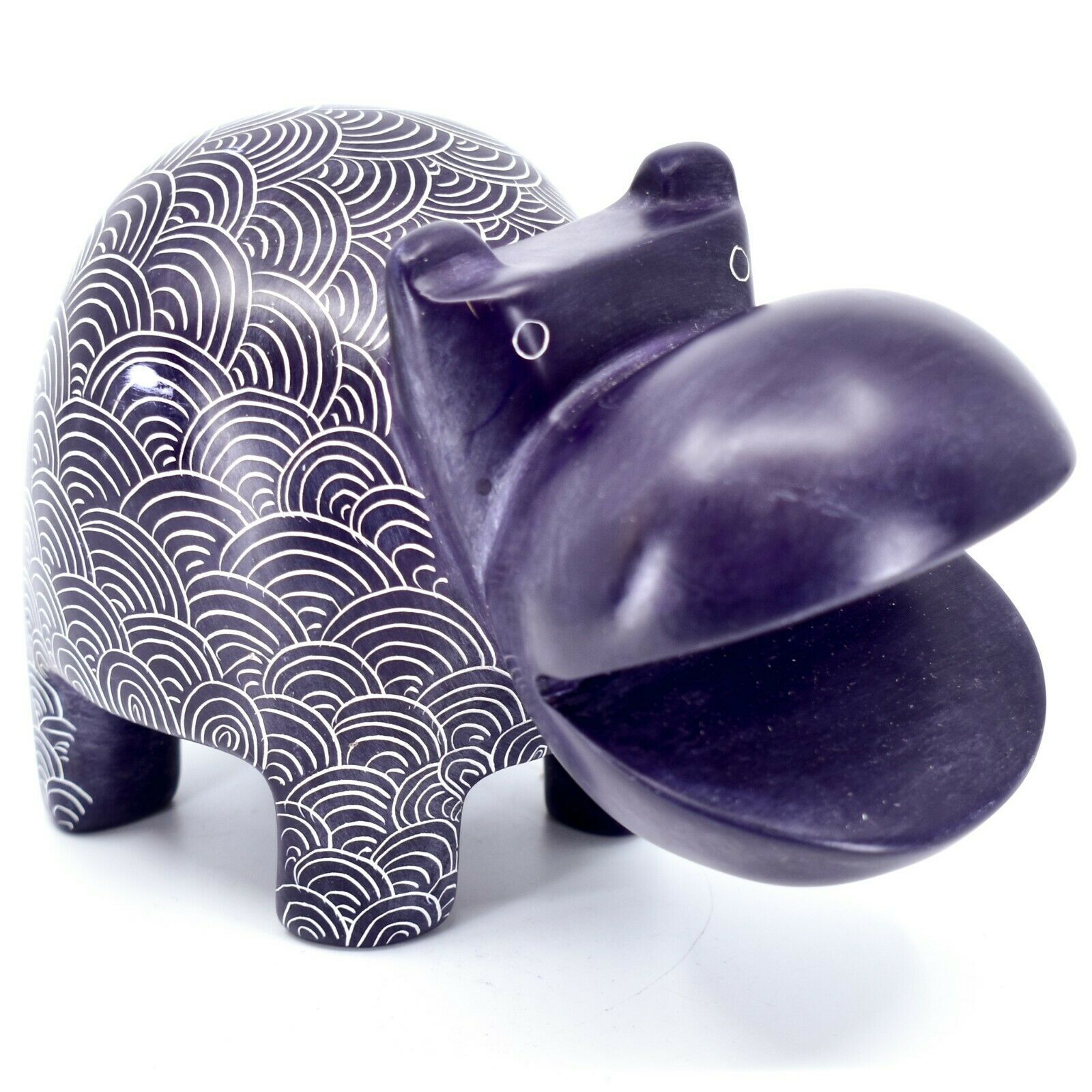 Vaneal Group Hand Carved Soapstone Large Heavy Purple Hippopotamus Hippo Bookend