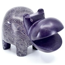 Vaneal Group Hand Carved Soapstone Large Heavy Purple Hippopotamus Hippo Bookend image 1